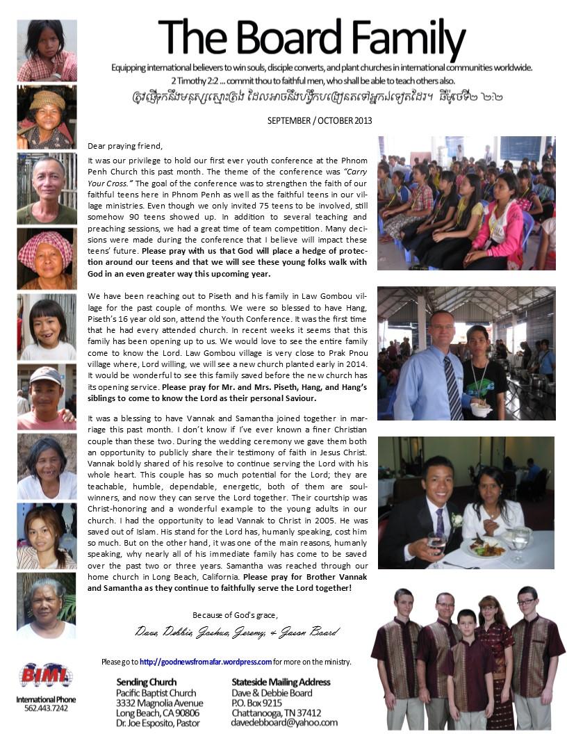 Board family prayer letter update_September_October 2013